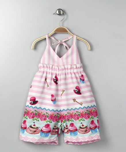 Little Kangaroos Halter Neck Jumpsuit Cupcake Print - Pink