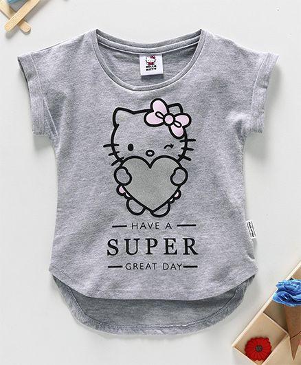 Fox Baby Half Sleeves Top Kitty Print - Grey
