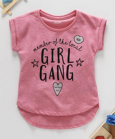 Fox Baby Half Sleeves Top Text Print - Pink