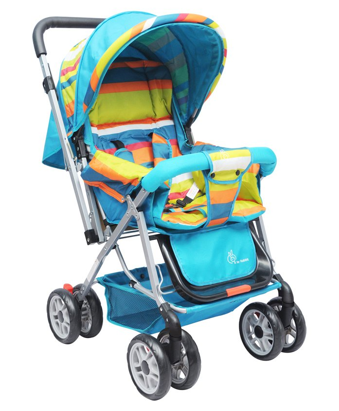 R for Rabbit Lollipop Lite Stroller Cum Pram - Blue Multicolour