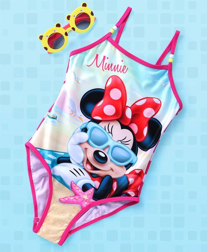 Disney V Cut Swimsuit Minnie Print - Pink Multi Colour