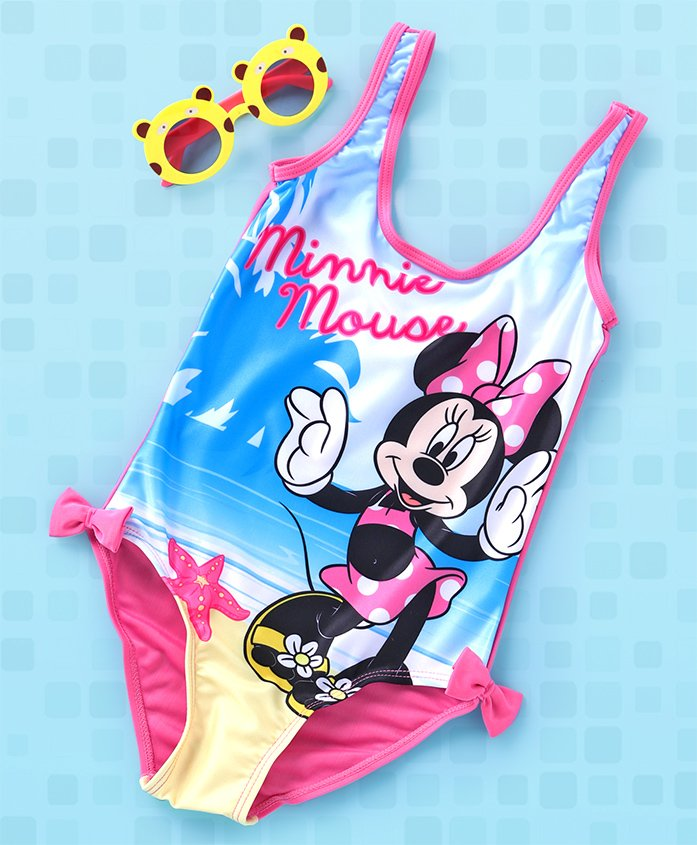 Disney V Cut Swimsuit Bow Applique Minnie Print - Blue Multi Colour