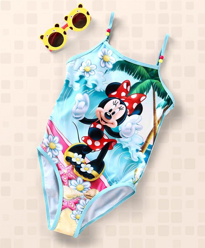 Disney V Cut Singlet Swimsuit Minnie Print - Light Blue