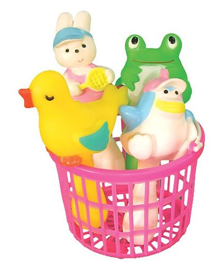 Masoom Squeaky Squeeze Toy Set Of 4 With Basket - Multicolour