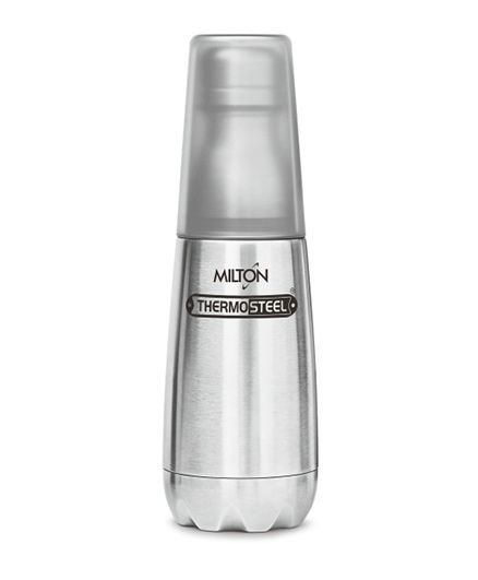 Milton Thermosteel Bottle With Tumbler Glass Silver - 500 ml