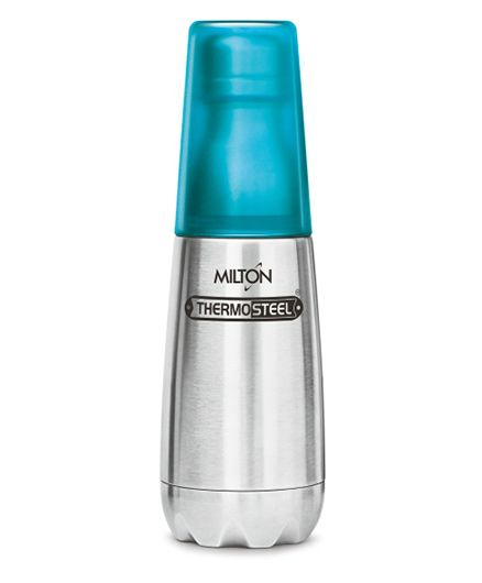 Milton Thermosteel Bottle With Tumbler Glass Silver Blue - 500 ml