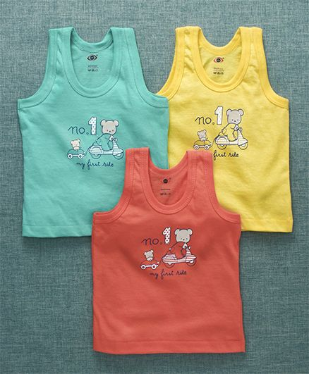 Zero Sleeveless Vests Pack of 3 Teddy Print - Yellow Coral Light Green