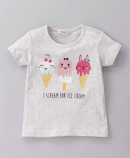 Fox Baby Short Sleeves Top Ice Cream Print - Light Grey