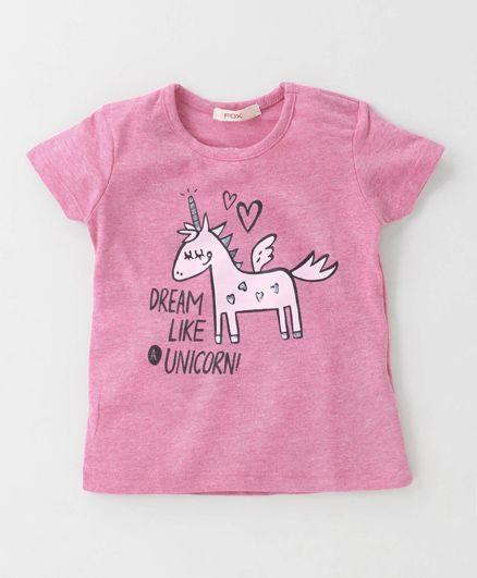 Fox Baby Short Sleeves Top Unicorn Print - Pink