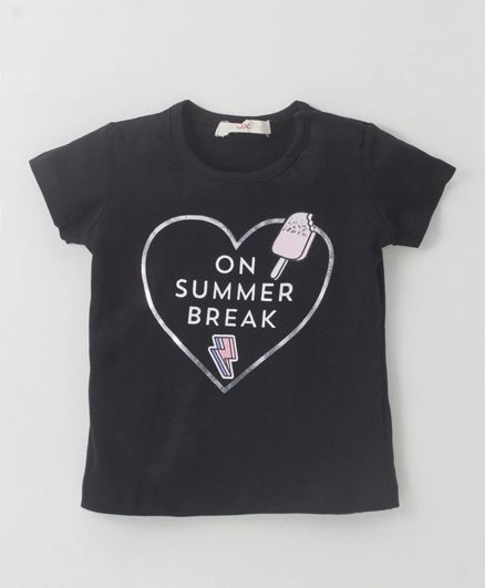 Fox Baby Short Sleeves Top Text Print - Black