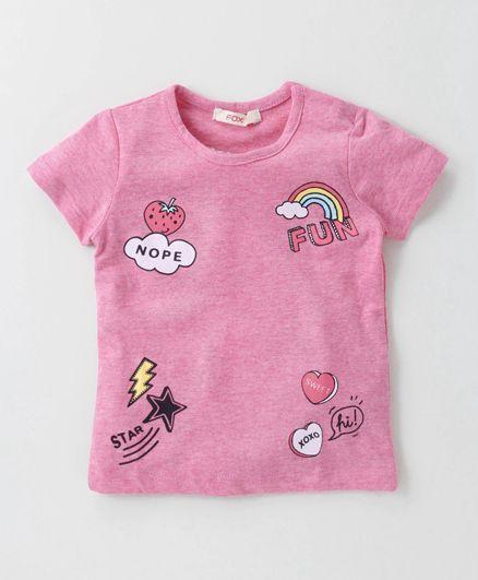 Fox Baby Short Sleeves Top Multiprint - Pink