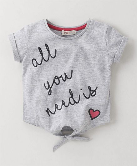 Fox Baby Short Sleeves Tie Knot Style Top Text Print - Grey