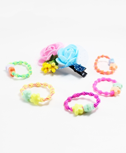 Milyra Rubber Band With Floral Clip - Multicolor