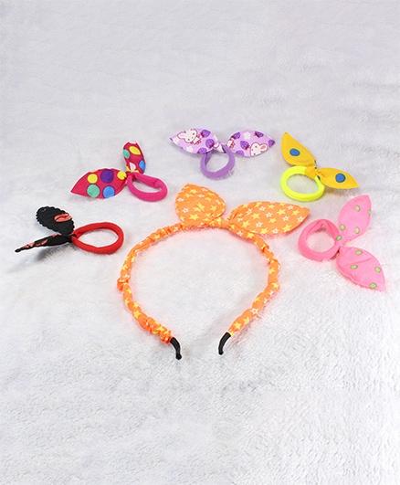 Pihoo Hair Band & Rubber Band Combo - Multicolor