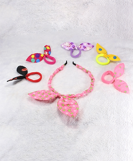 Pihoo Hair Band & Rubber Band Combo - Multicolor & Pink