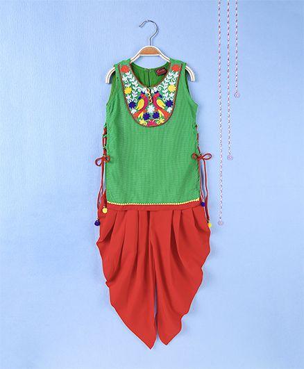 Twisha Aari Embroidered Kurta With Dhoti - Pink
