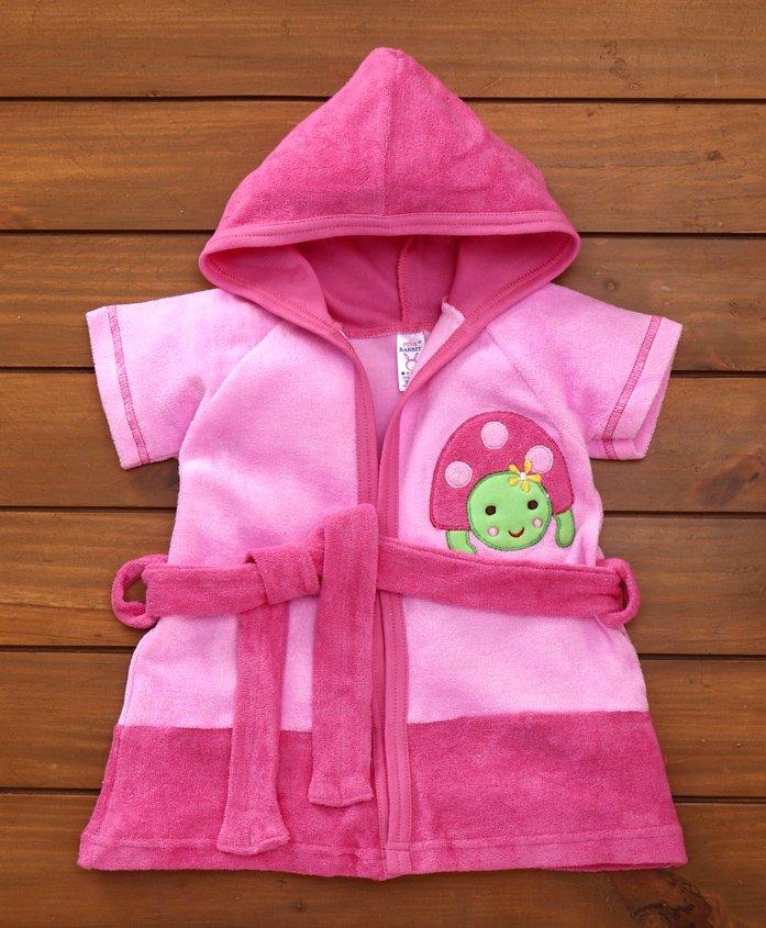 Pink Rabbit Terry Cotton Bath Robe With Hood Turtle Design - Pink