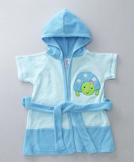 Pink Rabbit Terry Cotton Bath Robe With Hood Turtle Design - Blue