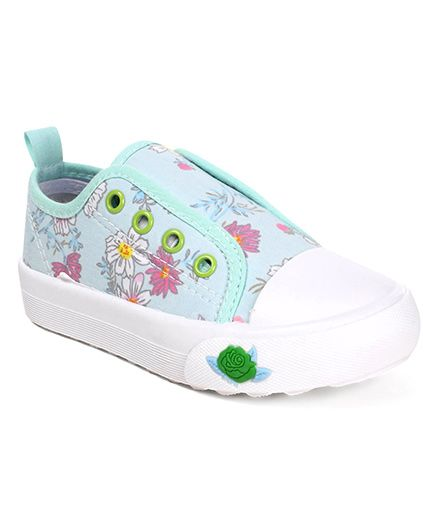 Cute Walk by Babyhug Slip-On Canvas Shoes Floral Design - Sea Green
