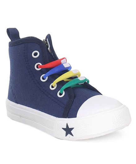 Cute Walk by Babyhug Canvas Casual Shoes Star Patch - Navy