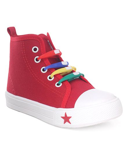 Cute Walk by Babyhug Canvas Casual Shoes Star Patch - Red