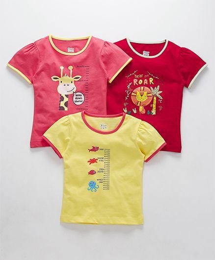 Ohms Half Sleeves Tee Multi Print Pack of 3 - Red Pink Yellow