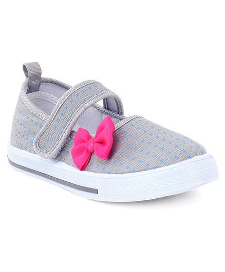 Cute Walk by Babyhug Casual Shoes Bow Applique - Grey