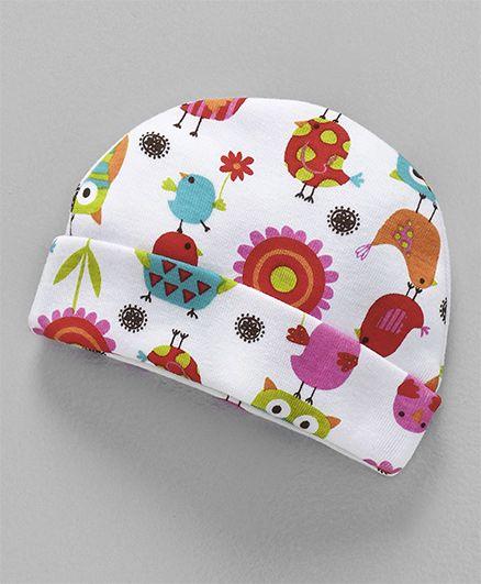Dear Tiny Baby Krazy Bird Printed Cap - White & Multicolor