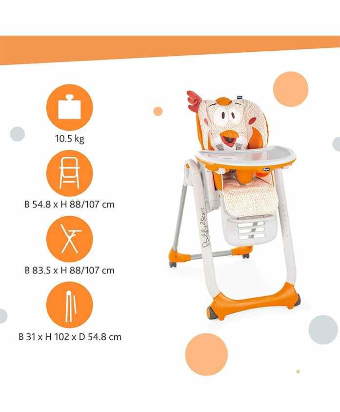 Chicco Polly 2 Start High Chair Chicken Print - Orange
