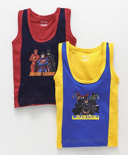 Red Rose Sleeveless Vest Justice League Print Pack Of 2 - Navy & Yellow