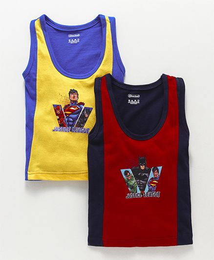 Red Rose Sleeveless Vest Justice League Print Pack Of 2 - Red & Yellow