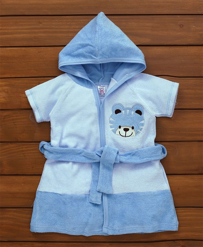 Pink Rabbit Cotton Terry Bath Robe With Hood Tiger Design - Blue