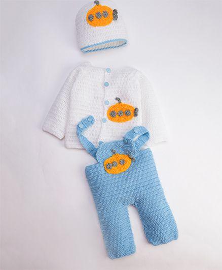 The Original Knit Aeroplane Embellished Sweater With Cap & Pajamas - Iceblue & White
