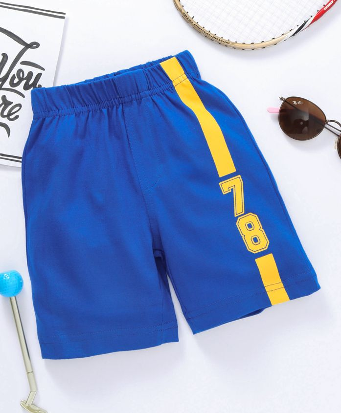 Babyhug Knitted Shorts 78 Print - Blue