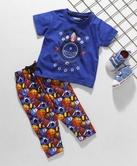 Cucumber Half Sleeves Night Suit Sports Print - Blue