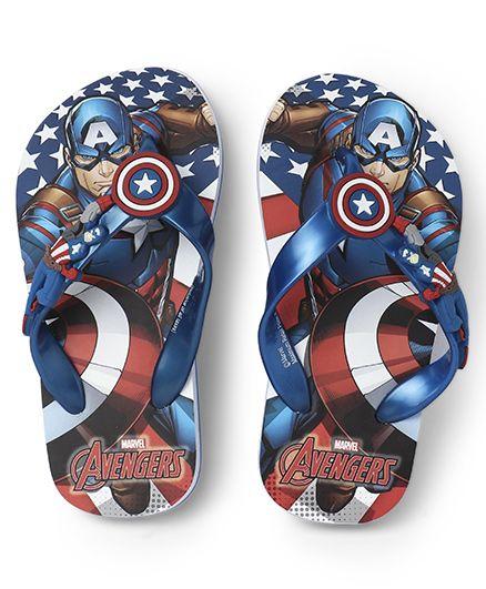 Avengers Captain America Printed Flip Flops - Royal Blue
