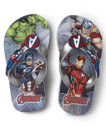 Avengers Printed Flip Flops - Grey