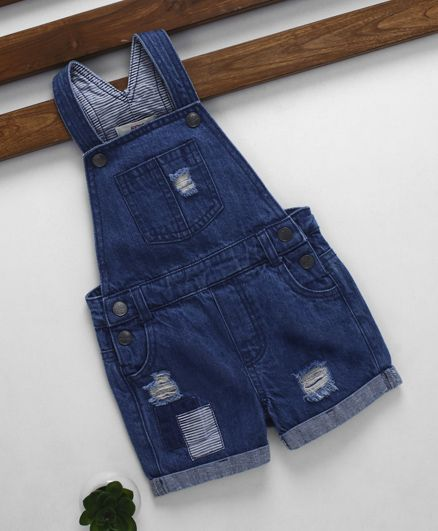 Fox Baby Denim Ripped Dungaree - Blue