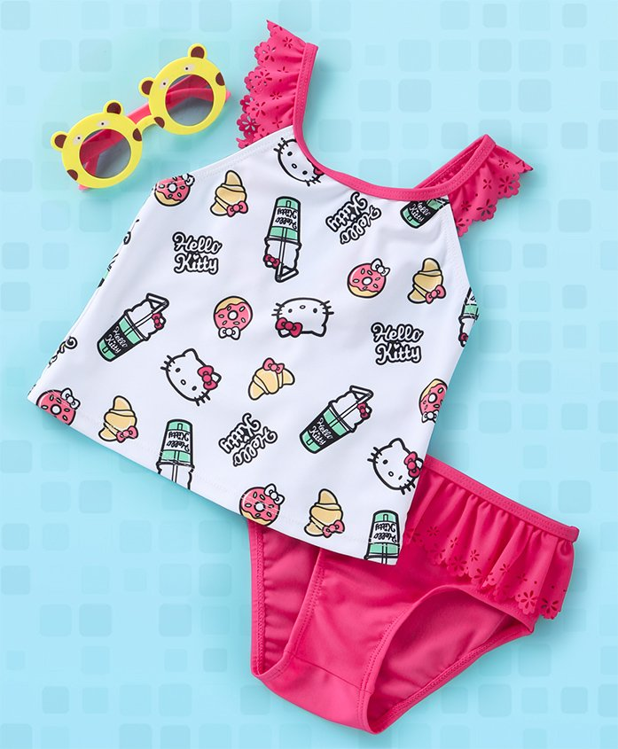 Fox Baby V Cut Swimsuit Hello Kitty Printed - Pink