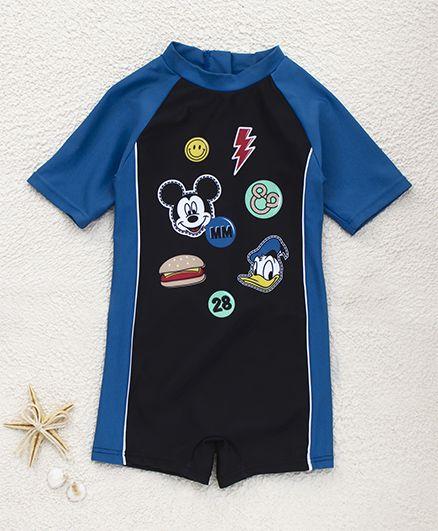 Fox Baby Half Sleeves Legged Swimsuit Mickey Mouse Print - Royal Blue