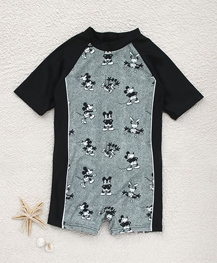 Fox Baby Half Sleeves Legged Swimsuit Mickey Mouse Print - Black
