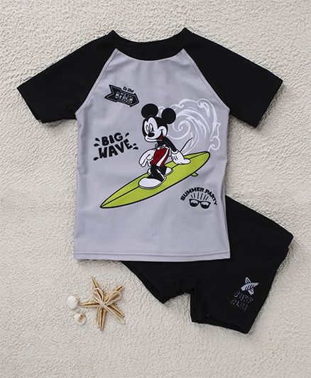 Fox Baby Two Piece Swimsuit Mickey Mouse Print - Black Grey