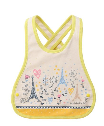 Little Hip Boutique Floral Abstract Cross Back Bib - Yellow