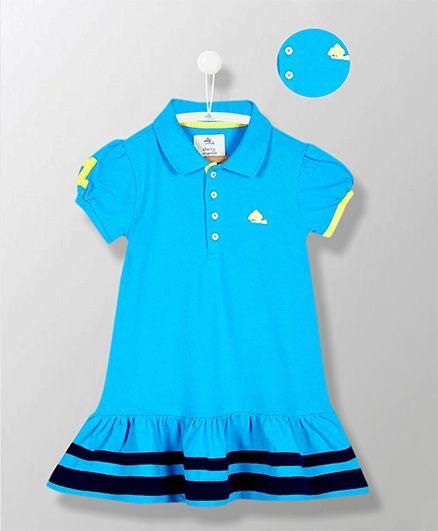 Cherry Crumble California Frill Collar Cotton Polo Dress - Royal Blue