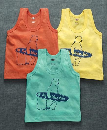 Zero Sleeveless Vest Bear Print Pack of 3 - Yellow Orange Sea Green