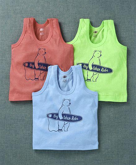 Zero Sleeveless Vest Bear Print Pack of 3 - Red Neon Green Blue