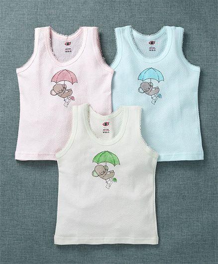 Zero Sleeveless Slip Elephant Print Pack of 3 - Green Blue Pink