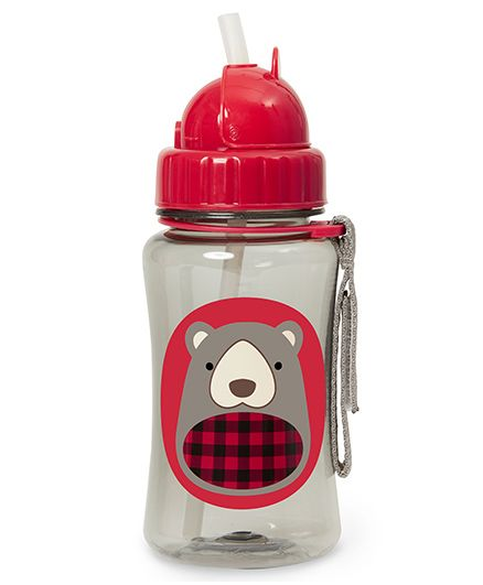 Skip Hop Sipper Bottle With Pop Up Straw Bear Print Red - 354 ml