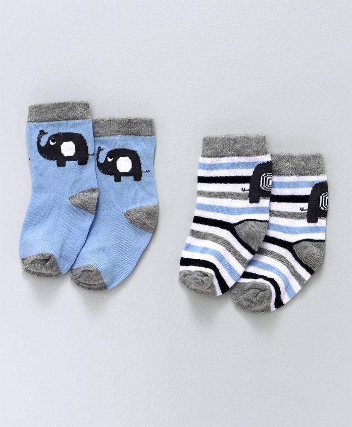 Cute Walk by Babyhug Anti Bacterial Ankle Length Socks Stripes & Elephant Design Pack of 2 - Blue White