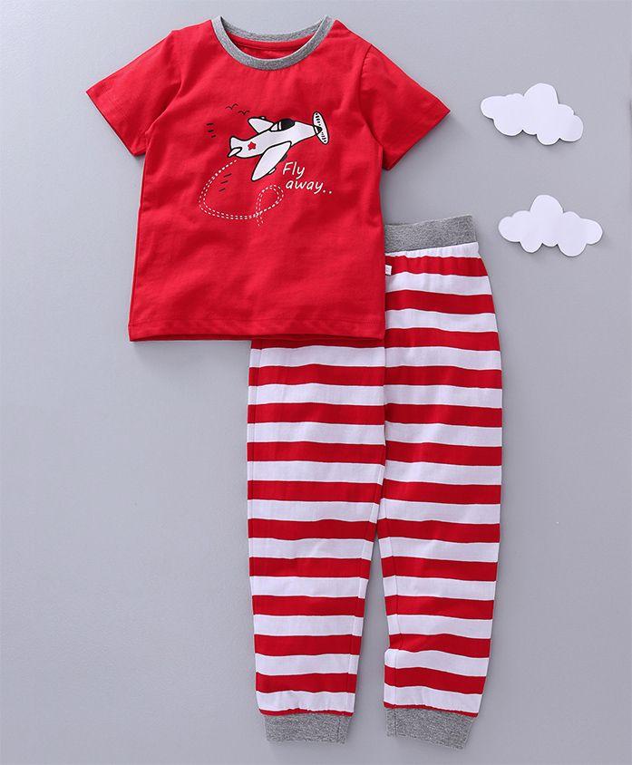 Babyoye Half Sleeves Night Suit Fly Away Print - Red